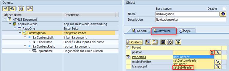 SAP UI5 Tutorial - Attribute