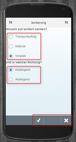 SAP WM App Arbeitsvorrat - Sortierung