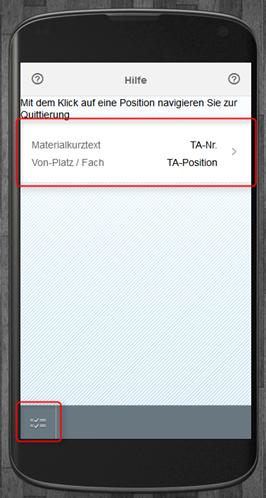 SAP WM App Arbeitsvorrat - Hilfe