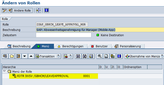 Ändern Rolle SAP_GBHCM_LEAVE_APPROVAL_MGR
