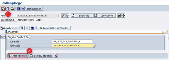 Kopieren Rolle SAP_HCM_BCR_MANAGER_X1