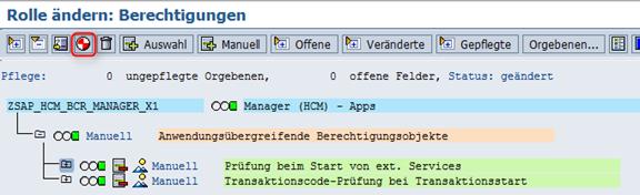 Rolle generieren SAP_HCM_BCR_MANAGER_X1 2