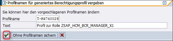 Profil generieren für Rolle SAP_HCM_BCR_MANAGER_X1