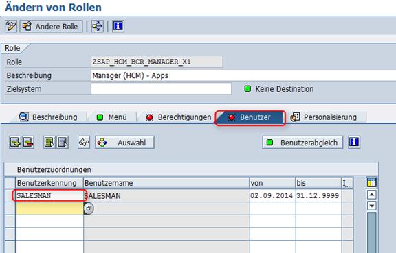 Nutzer zuordnen SAP_HCM_BCR_MANAGER_X1