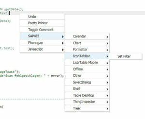 Rechtsklick - Einfügen eines SAPUI5 Snippets im NAD 3.0