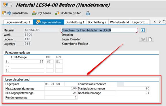 SAP WM Materialstamm anpassen