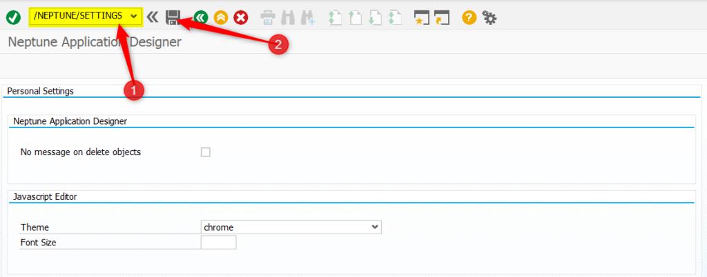 In der Transaktion /NEPTUNE/SETTINGS lassen sich die Fensterbreiten des Neptune Application Designer zurücksetzen