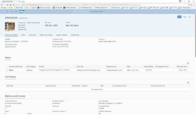 Detailansicht einer Bestellung in Manage Purchase Orders