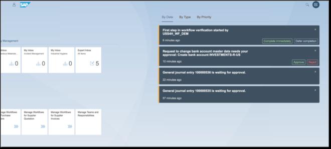 Fiori-Nachrichten werden Empfängern direkt auf der Benutzeroberfläche des Fiori Launchpads angezeigt.