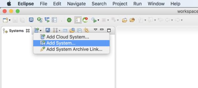 Über den Befehl Add System können Sie Eclipse mit HANA in der Cloud Foundry verbinden