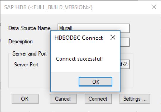 HDBODBC Verbindung war erfolgreich