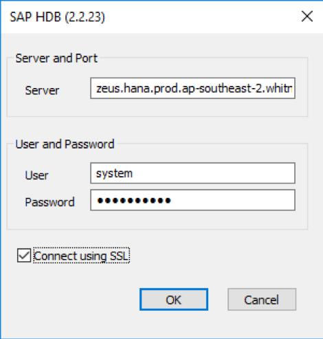Haken bei Connect using SSL setzen