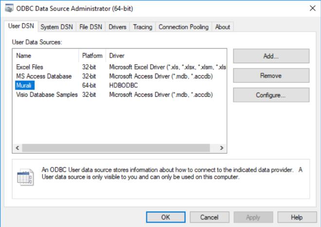 ODBC Data Source Administrator