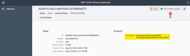 Vom Dashboard direkt ins SAP HANA Cockpit springen
