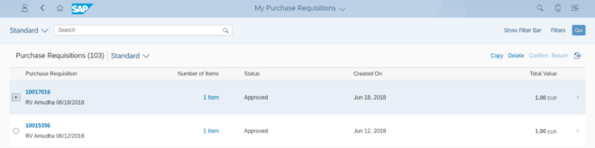 My Purchase Requisitions