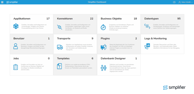 Das Simplifier 5.0 Dashboard