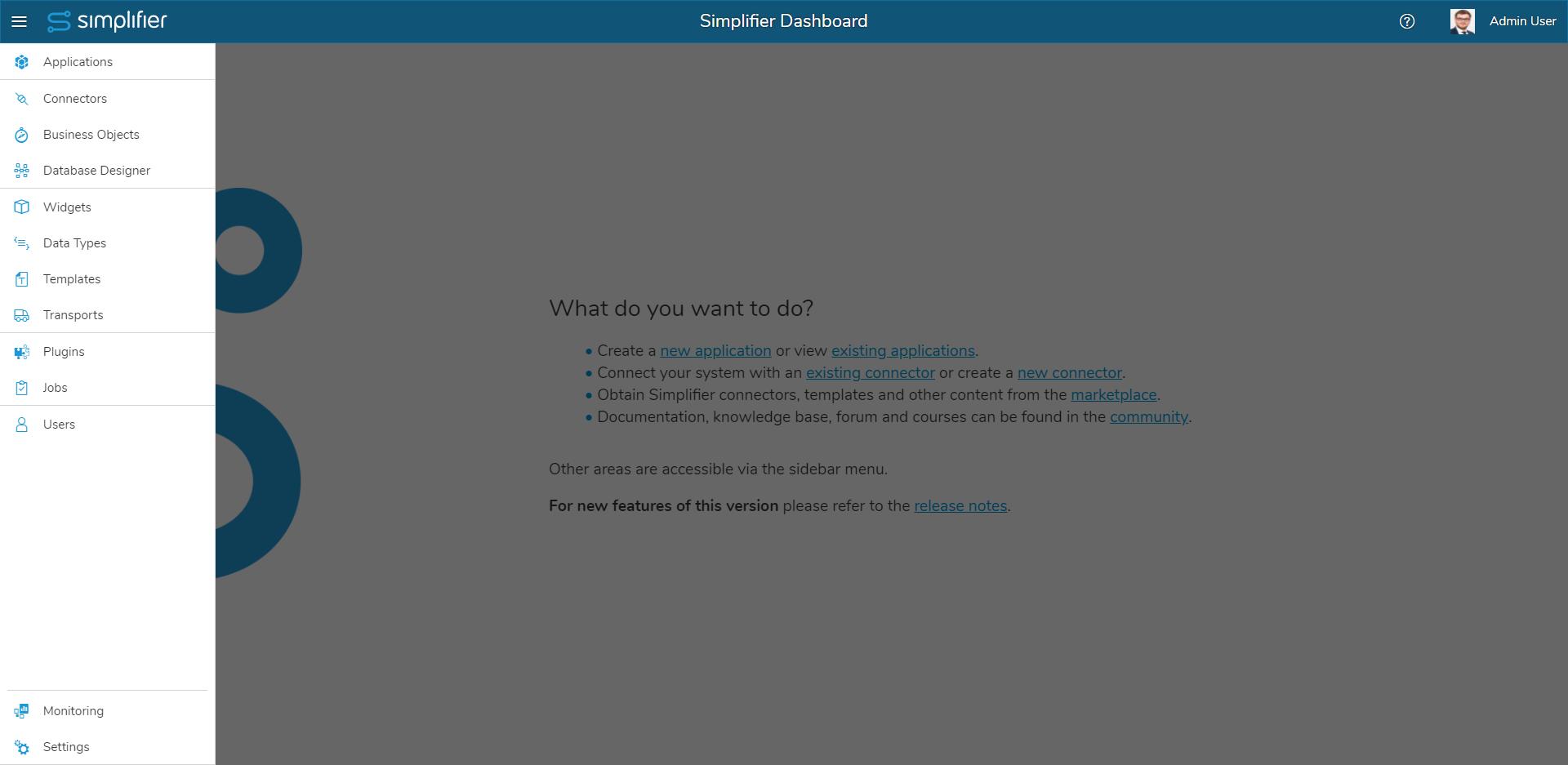 Über die Startseite gelangt Sie als Nutzer an alle Funktionen, die Sie zur Erstellung von Apps benötigen