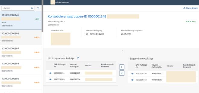 Lieferkonsolidierungs-App für SAP SD