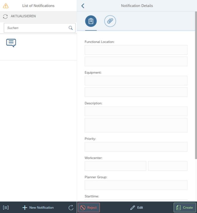 Abbildung 1 Beispielhafte Oberfläche der App