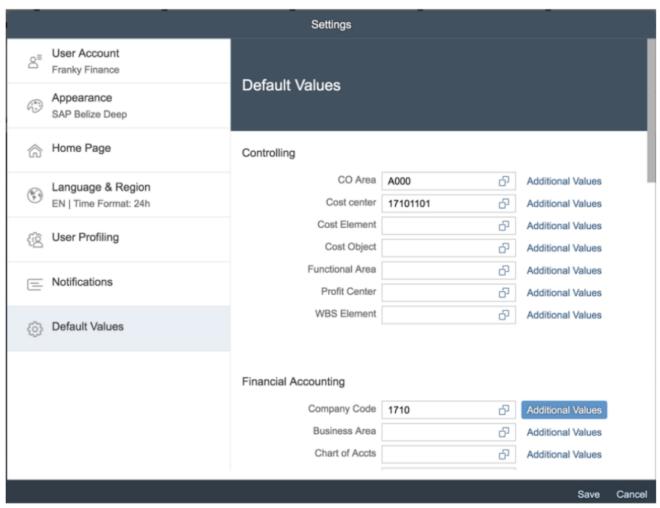 User Default Values; Migration S/4HANA