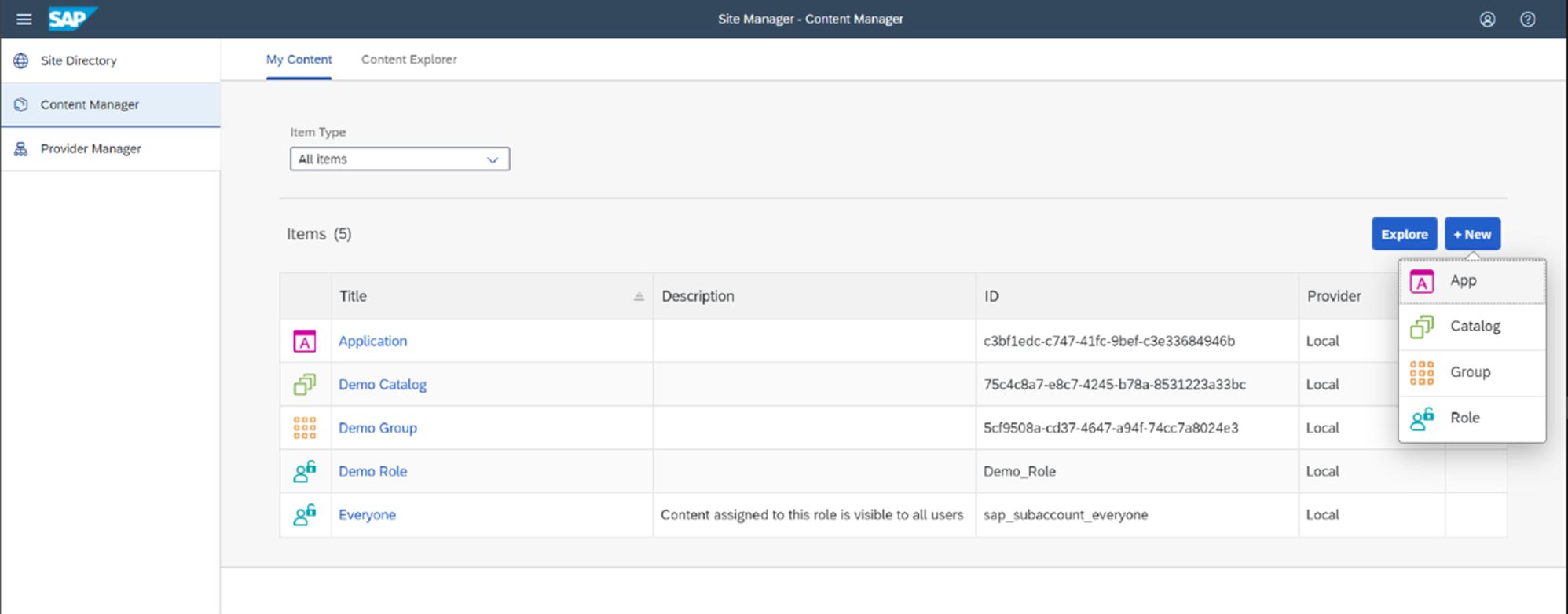 Abb. 2: Anzeige des eigenen Contents im Content Manager. Quelle: SAP