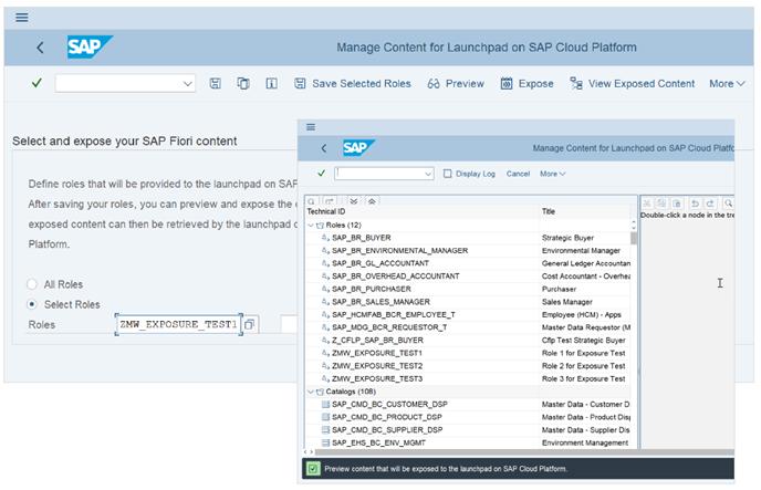 Abb. 4: Auswahl und Freigabe von SAP-Fiori-Inhalten. Quelle: SAP